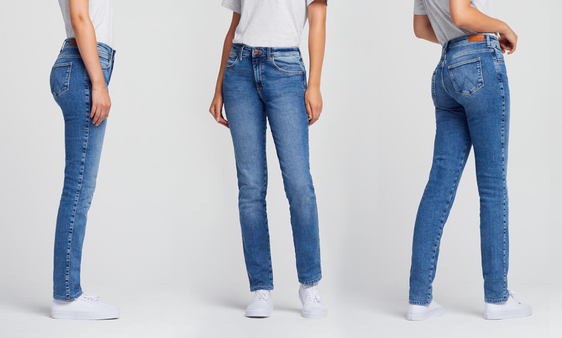 Side, Front, Back views of Wrangler Slim Jeans
