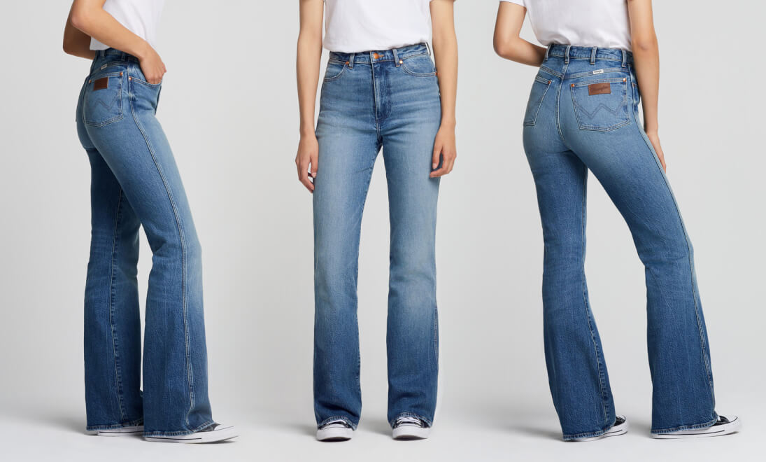 Side, Front, Back views of Wrangler Flare Jeans