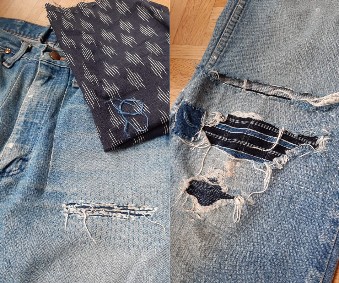 Wrangler denim jeans with patched holes