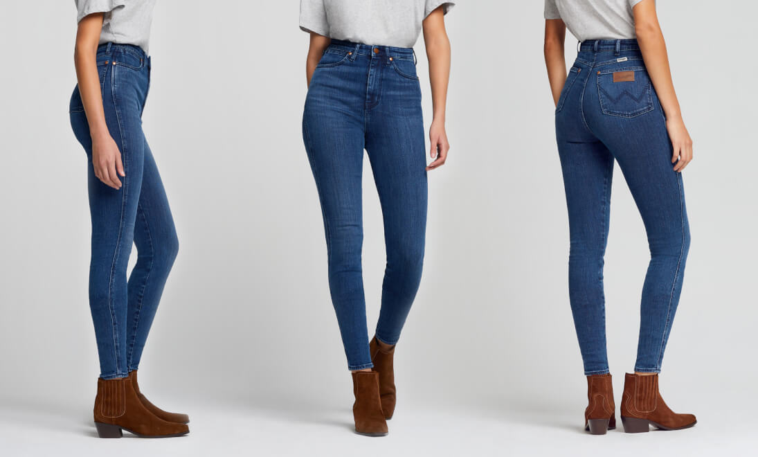 Side, Front, Back views of Wrangler Wriggler Jeans