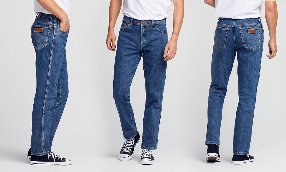 Side, Front, Back views of Wrangler Texas Jeans