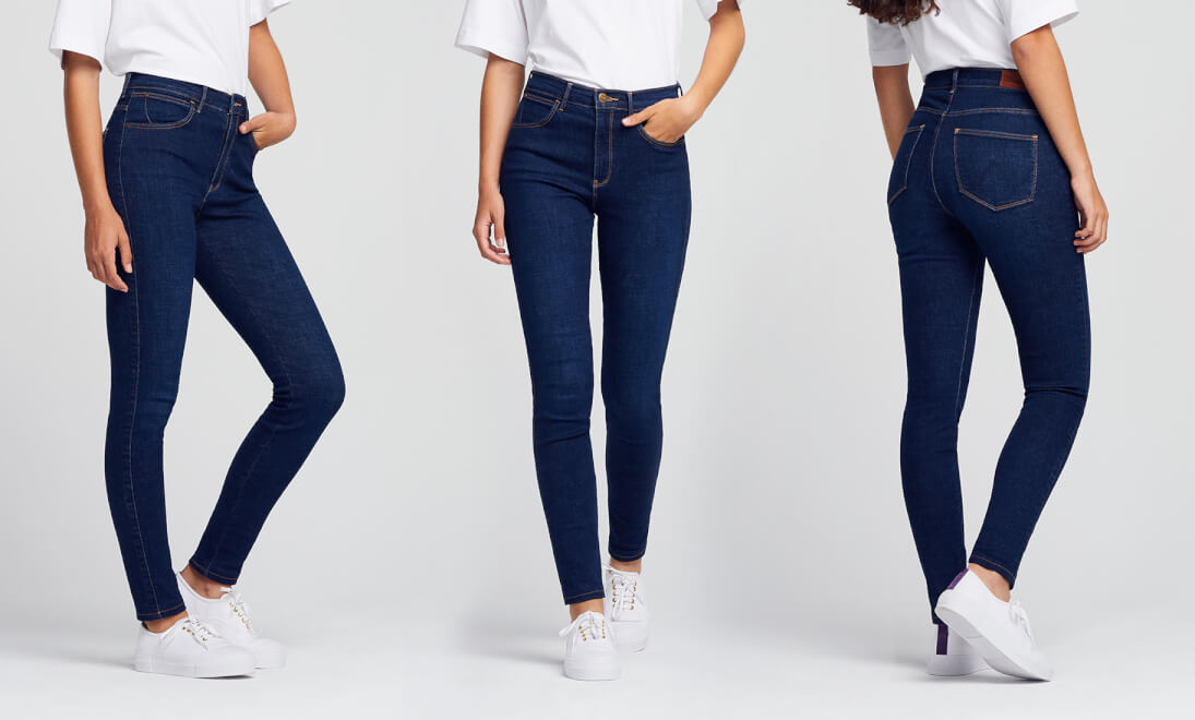 Side, Front, Back views of Wrangler High Rise Skinny Jeans