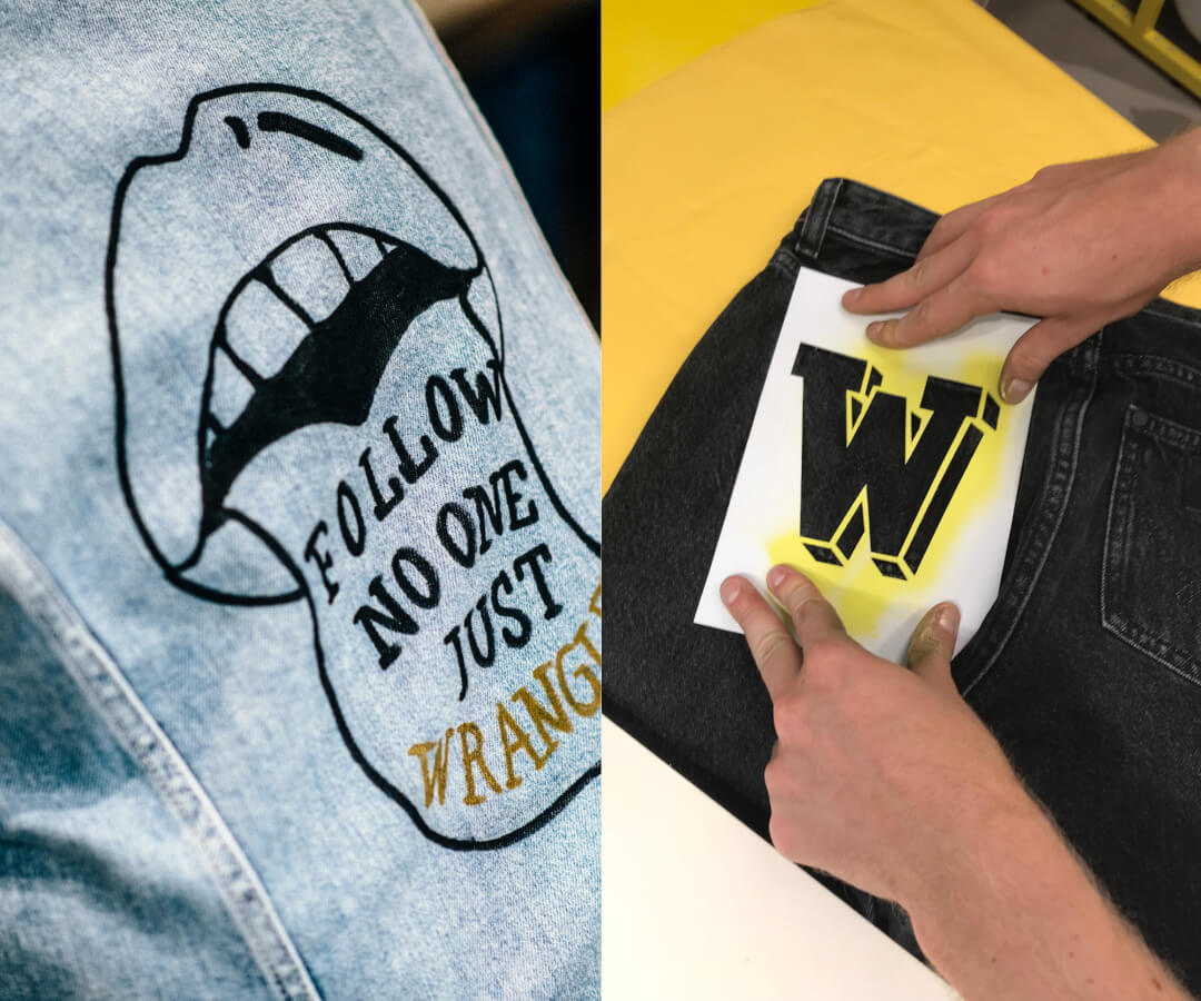 Wrangler Denim customised with stencils