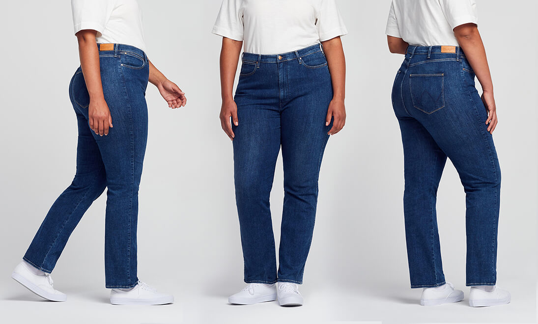 Side, Front, Back views of Wrangler Straight Plus Jeans