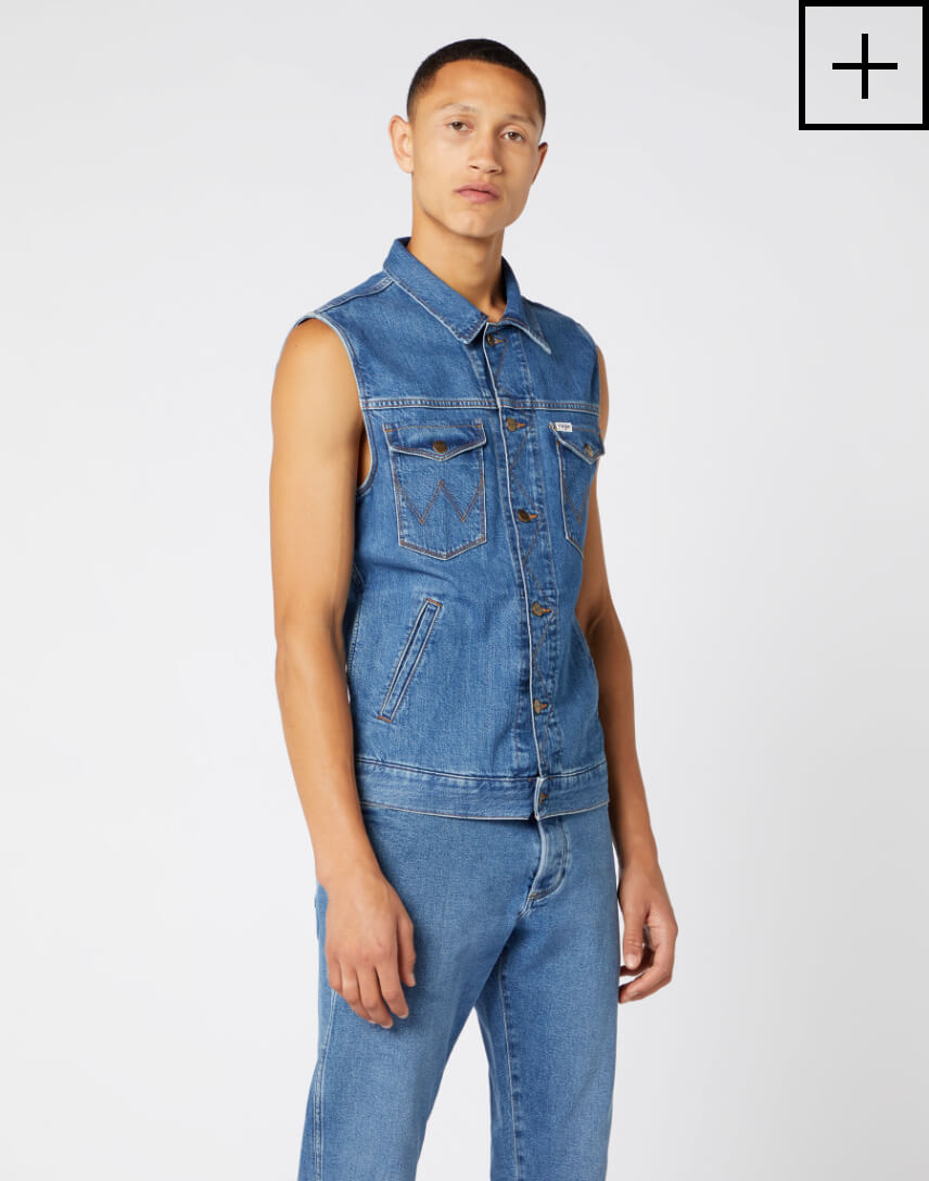denim vest in bora blue